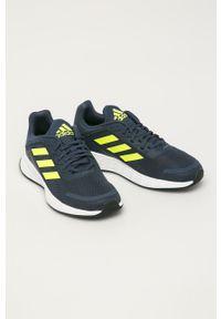 Niebieskie buty sportowe Adidas z okrągłym noskiem, z cholewką, Adidas Cloudfoam, na sznurówki