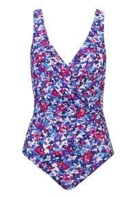 Kostium kąpielowy shape Level 1 bonprix lila -różowo-niebieski w kwiaty. Kolor: fioletowy. Materiał: materiał. Wzór: kwiaty