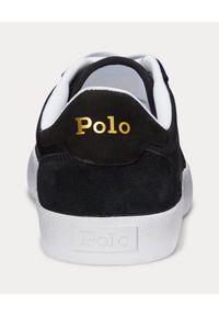 Ralph Lauren - RALPH LAUREN - Czarne sneakersy Court Low-Top. Nosek buta: okrągły. Kolor: czarny. Materiał: mesh, guma, zamsz, tkanina. Wzór: aplikacja. Obcas: na płaskiej podeszwie