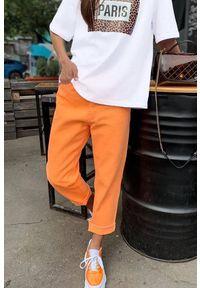 Pomarańczowe spodnie IVET casualowe, na co dzień