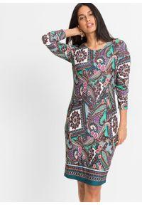 Sukienka z dżerseju bonprix niebiesko-turkusowo-brązowy wzorzysty. Kolor: niebieski. Materiał: jersey