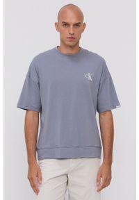 Calvin Klein Underwear - T-shirt piżamowy. Kolor: niebieski. Materiał: dzianina. Wzór: nadruk