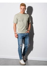Ombre Clothing - T-shirt męski bawełniany S1379 - oliwkowy - XXL. Kolor: oliwkowy. Materiał: bawełna. Długość: krótkie. Wzór: geometria