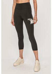 Czarne legginsy Nike z nadrukiem, z podwyższonym stanem