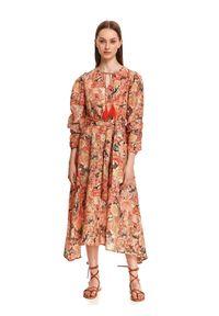 TOP SECRET - Długa sukienka w kolorowe wzory. Kolor: czarny. Materiał: tkanina, bawełna. Wzór: kolorowy. Sezon: lato. Długość: maxi