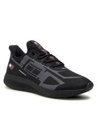 Czarne sneakersy Tommy Sport z cholewką, na co dzień