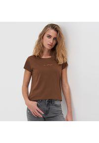 Brązowy t-shirt Sinsay z nadrukiem