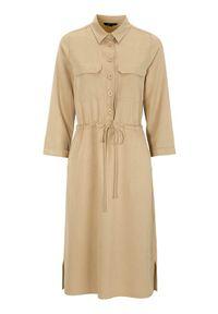 Beżowa sukienka Happy Holly koszulowa, casualowa, na co dzień