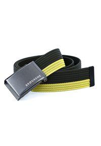 BRODRENE - Pasek męski do spodni parciany Brodrene P16G oliwkowo-żółty. Kolor: wielokolorowy, oliwkowy, żółty. Materiał: jeans, materiał. Styl: elegancki