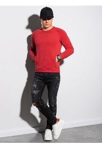 Ombre Clothing - Bluza męska bez kaptura B1156 - czerwona - XXL. Typ kołnierza: bez kaptura. Kolor: czerwony. Materiał: dzianina, dresówka, jeans, poliester, bawełna #3