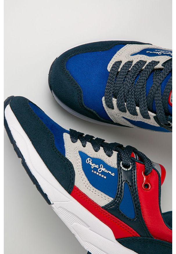 Niebieskie buty sportowe Pepe Jeans z okrągłym noskiem, z cholewką
