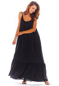 Czarna sukienka rozkloszowana Awama na lato, maxi