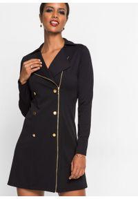Czarna sukienka bonprix biznesowa, z aplikacjami, na spotkanie biznesowe