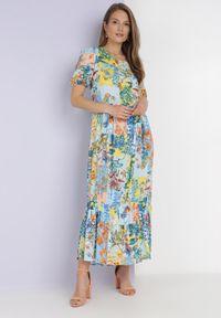 Born2be - Niebieska Sukienka Laomemoni. Okazja: na co dzień. Kolor: niebieski. Materiał: wiskoza, materiał. Długość rękawa: krótki rękaw. Wzór: aplikacja, kolorowy. Typ sukienki: proste. Styl: casual. Długość: maxi #1