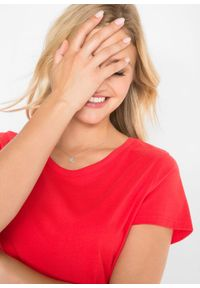 Shirt z okrągłym dekoltem (5 szt.), krótki rękaw bonprix truskawkowy + czarny + biały + jasnoszary melanż + ciemnoniebieski. Kolor: czerwony. Materiał: jersey. Długość rękawa: krótki rękaw. Długość: krótkie. Wzór: melanż