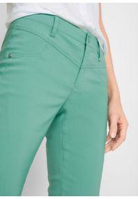 Spodnie z bengaliny ze stretchem BOOTCUT bonprix zielony szałwiowy. Kolor: zielony. Materiał: poliester, włókno, skóra, wiskoza, materiał
