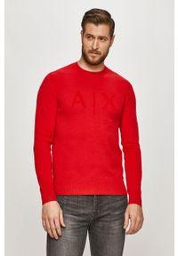 Czerwony sweter Armani Exchange długi, z długim rękawem, casualowy