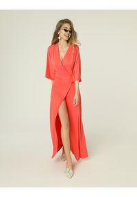 Pomarańczowa sukienka biznesowa, na spotkanie biznesowe, prosta, midi