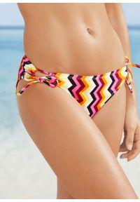Bikini bandeau (2 części) bonprix czarno-różowo-żółto-biały z nadrukiem. Kolor: czarny. Wzór: nadruk