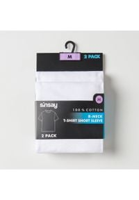 Sinsay - Koszulka slim fit 2 pack - Biały. Kolor: biały