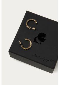 Złote kolczyki Karl Lagerfeld z kryształem, metalowe, z aplikacjami
