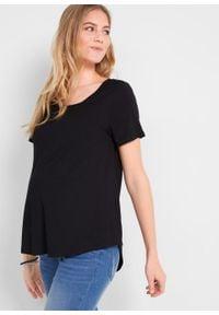 Długi shirt ciążowy i do karmienia piersią LENZING™ ECOVERO bonprix czarny. Kolekcja: moda ciążowa. Kolor: czarny. Materiał: materiał. Długość: długie