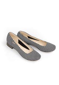 Czarne baleriny Zapato bez zapięcia, eleganckie, w kolorowe wzory