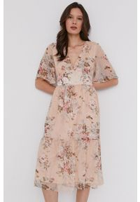 Answear Lab - Sukienka. Materiał: tkanina. Typ sukienki: rozkloszowane. Styl: wakacyjny