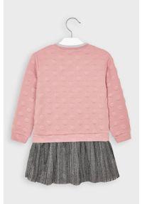 Różowa sukienka Mayoral z aplikacjami, mini