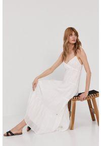 Pepe Jeans - Sukienka Anae. Kolor: biały. Materiał: tkanina. Długość rękawa: na ramiączkach. Typ sukienki: rozkloszowane