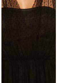 Czarna sukienka Miss Sixty bez rękawów, w grochy, rozkloszowana