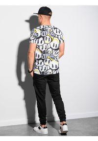 Ombre Clothing - T-shirt męski z nadrukiem S1414 - biały/żółty - XXL. Kolor: żółty. Materiał: jeans, bawełna, poliester. Wzór: nadruk