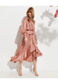Beżowa sukienka z kopertowym dekoltem, midi