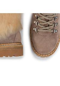 Beżowe buty trekkingowe Montelliana z cholewką