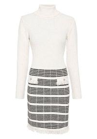 Biała sukienka bonprix w paski, z golfem