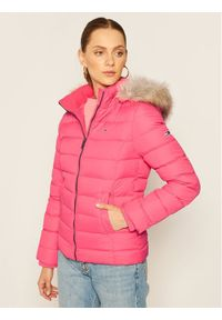 Różowa kurtka puchowa Tommy Jeans na zimę
