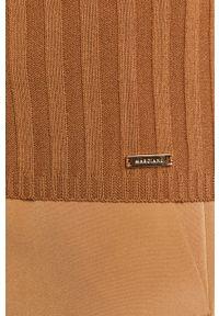 Złoty sweter Marciano Guess z długim rękawem, z aplikacjami, z okrągłym kołnierzem, długi