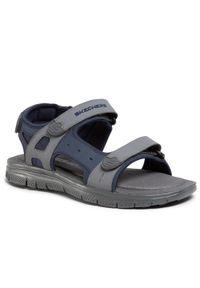 Szare sandały skechers na lato, casualowe, na co dzień