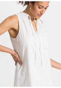 Sukienka z ażurowym haftem bonprix biały. Kolor: biały. Wzór: haft, ażurowy