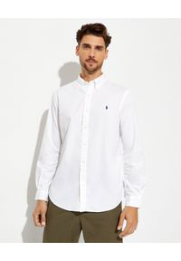 Ralph Lauren - RALPH LAUREN - Biała koszula Slim Fit. Typ kołnierza: button down, polo. Kolor: biały. Wzór: haft. Styl: klasyczny