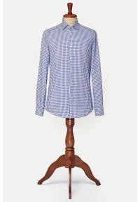 Lancerto - Koszula Granatowa w Kratę Omessa. Typ kołnierza: button down. Kolor: niebieski. Materiał: bawełna, tkanina. Wzór: ze splotem, kratka, aplikacja. Sezon: lato. Styl: vintage