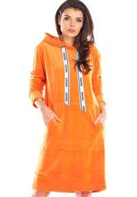 Awama - Welurowa Prosta Sukienka z Logowaną Taśmą - Pomarańczowa. Kolor: pomarańczowy. Materiał: welur. Typ sukienki: proste