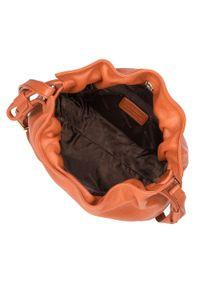 Brązowa torebka worek Wittchen casualowa, z aplikacjami, zdobiona