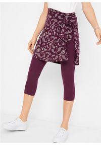 Spódnica - pas na biodra w deseń paisley bonprix czarny bez - biały z nadrukiem. Kolor: fioletowy. Wzór: nadruk, paisley