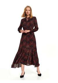 Czarna sukienka TOP SECRET na jesień, na co dzień, z długim rękawem, asymetryczna