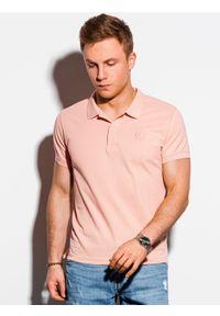 Ombre Clothing - Koszulka męska polo klasyczna bawełniana S1374 - brzoskwiniowa - XXL. Typ kołnierza: polo. Kolor: pomarańczowy. Materiał: bawełna. Wzór: haft. Styl: klasyczny