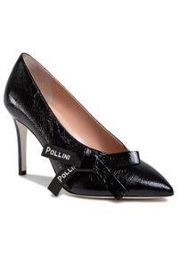 Czarne półbuty Pollini eleganckie, z cholewką