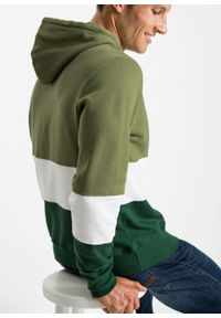 Bluza z kapturem bonprix zielony lodenowy - biały - ciemnozielony w paski. Typ kołnierza: kaptur. Kolor: zielony. Wzór: paski #3