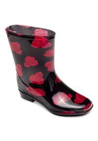 LANO - Kalosze damskie Lano ANX-01 Red 1 Flower. Zapięcie: bez zapięcia. Kolor: różowy. Materiał: tkanina, guma. Szerokość cholewki: normalna. Obcas: na obcasie. Styl: klasyczny. Wysokość obcasa: niski