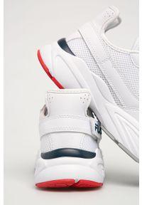 Białe buty sportowe Fila z okrągłym noskiem, z cholewką